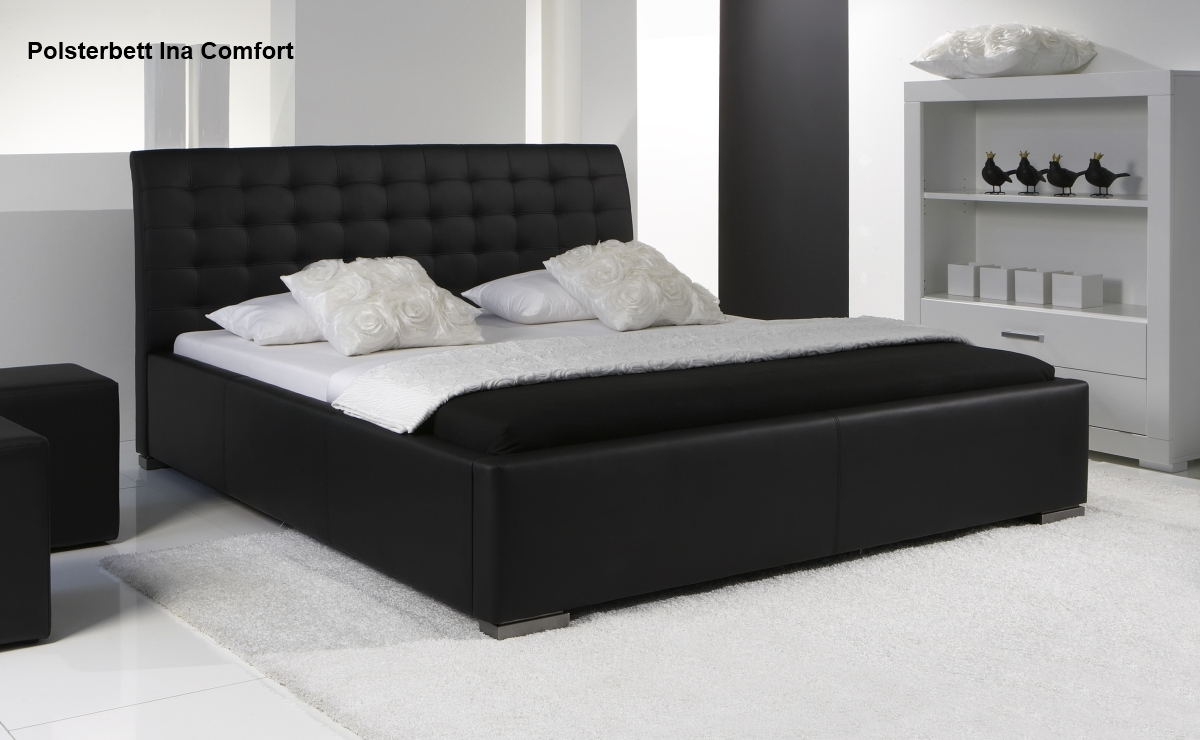 leder bett polsterbett farbe weiss oder schwarz. Black Bedroom Furniture Sets. Home Design Ideas
