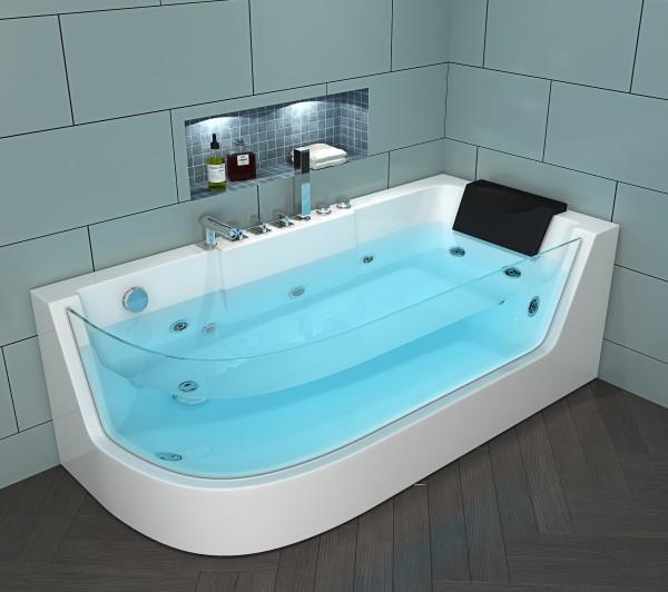 Whirlpool Badewanne Costa Rica RECHTS 170x80 cm mit 4 Massage Düsen mit Glas Armaturen Luxus Spa für Bad