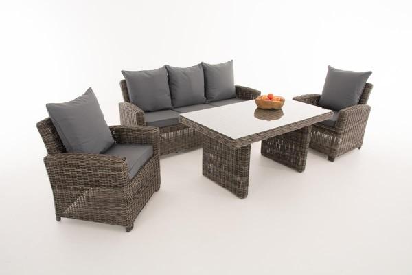 Rattan Gartenmöbel Set Faro grau meliert erweiterbar Sitzgarnitur Tisch mit Bank und 2x Stuhl Lounge für Terrasse Garten Balkon