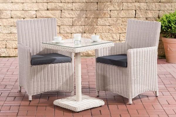 Rattan Gartenmöbel 2er Set Malmö perl weiss erweiterbar kompakte Sitzgarnitur Tisch mit 2x Stuhl kleine Sitzgruppe für Terrasse Garten Balkon