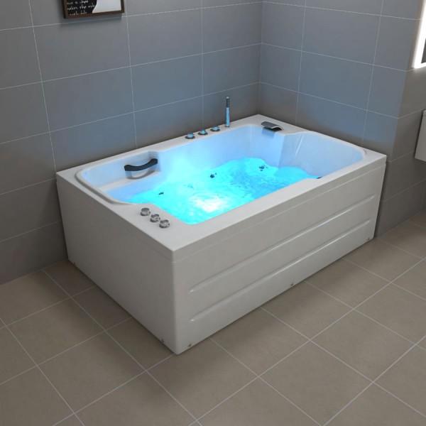 Doppel Whirlpool Badewanne Lugano 180x120x60 cm mit 14 Massage Düsen mit LED + Armaturen Luxus Spa für 2 Personen günstig