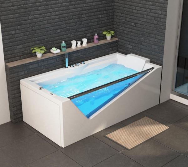 Whirlpool Badewanne Rimini 180x90x60 cm mit 14 Massage Düsen mit Heizung + Ozon + LED Luxus Spa für Bad günstig
