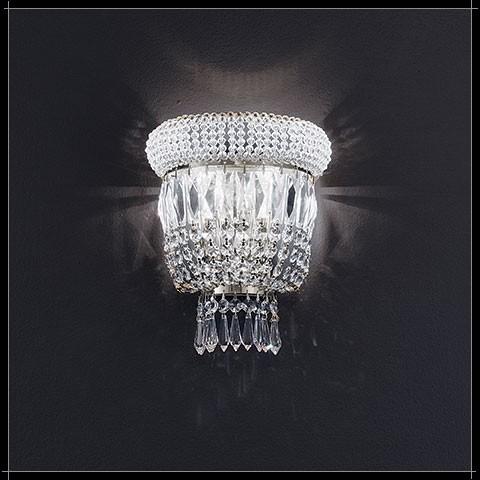 Luxus Kristall Wandleuchte Osaka rund Nickel Farbe silber Barock Lampe für Wand Treppenhaus