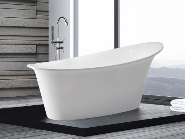 Freistehende Badewanne Haiti ovale Acryl Wanne optional mit freistehender Armatur für Bad innen