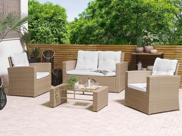 """Rattan Gartenmöbel Set """"Lucy"""" Sitzgruppe Rattanlounge für Garten Terrasse Balkon Couch Rattanmöbel hellbraun"""