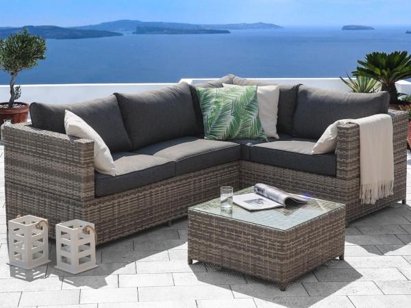 """Rattan Gartenmöbel Set """"Amazonas"""" Sitzgruppe Rattanlounge für Garten Terrasse Balkon Couch Rattanmöbel grau"""
