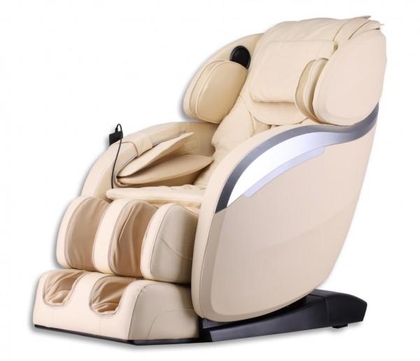"""Luxus Massagesessel """"Deluxe V2"""" creme weiß beige mit Zero Gravity Technologie + Rollentechnik + Heizung + Kopfmassage + Armmassage + Fußmassage + Beinmassage"""