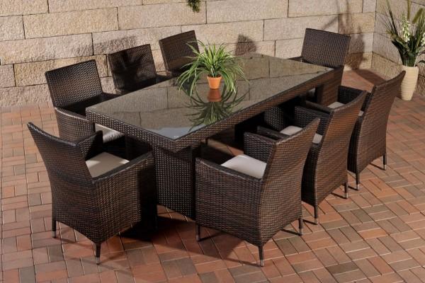 """Rattan Gartenmöbel Set """"Atlanta"""" dunkelbraun Sitzgarnitur Tisch mit 8 x Stuhl + Gartentisch 200 cm für Terrasse + Garten"""
