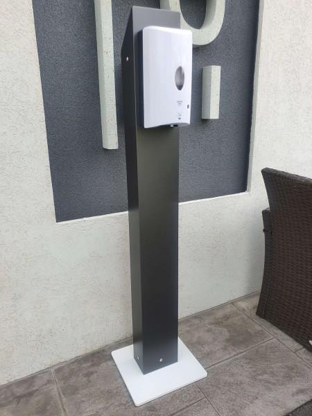 Desinfektionsstation mit Sensor aus Aluminium freistehend Desinfektionsspender für Desinfektionsmittel Station Ständer Säule Spender Tower
