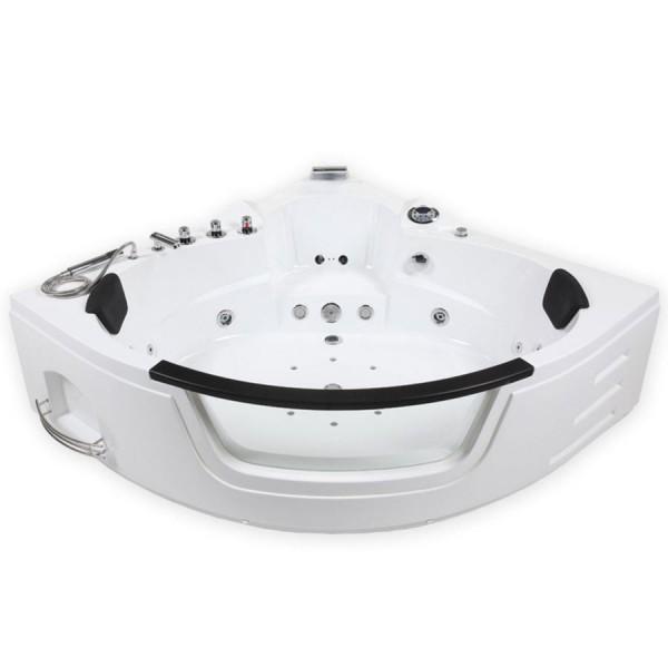 Whirlpool Badewanne London WEISS 3 Größen mit 21 Massage Düsen + Heizung + Ozon + Glas + LED Luxus Spa für Bad