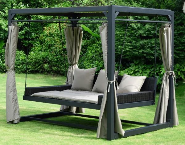 XXL Garten Pavillon Gartenliege Gartenpavillon Sonneninsel Liege Gartenmöbel Sonnenliege Sonnenschutz und Windschutz Farbe anthrazit