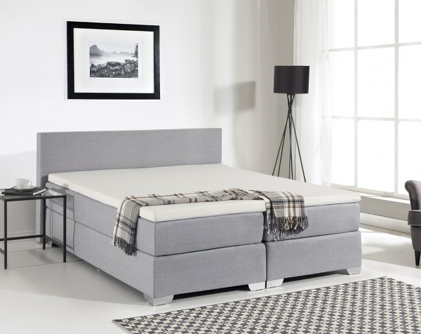 "Boxspring Bett ""Miami"" aus Stoff Boxspringbett schwarz / weiss / grau Mit Matratze + Visco Matratzenauflage 160 / 180 x 200 cm"