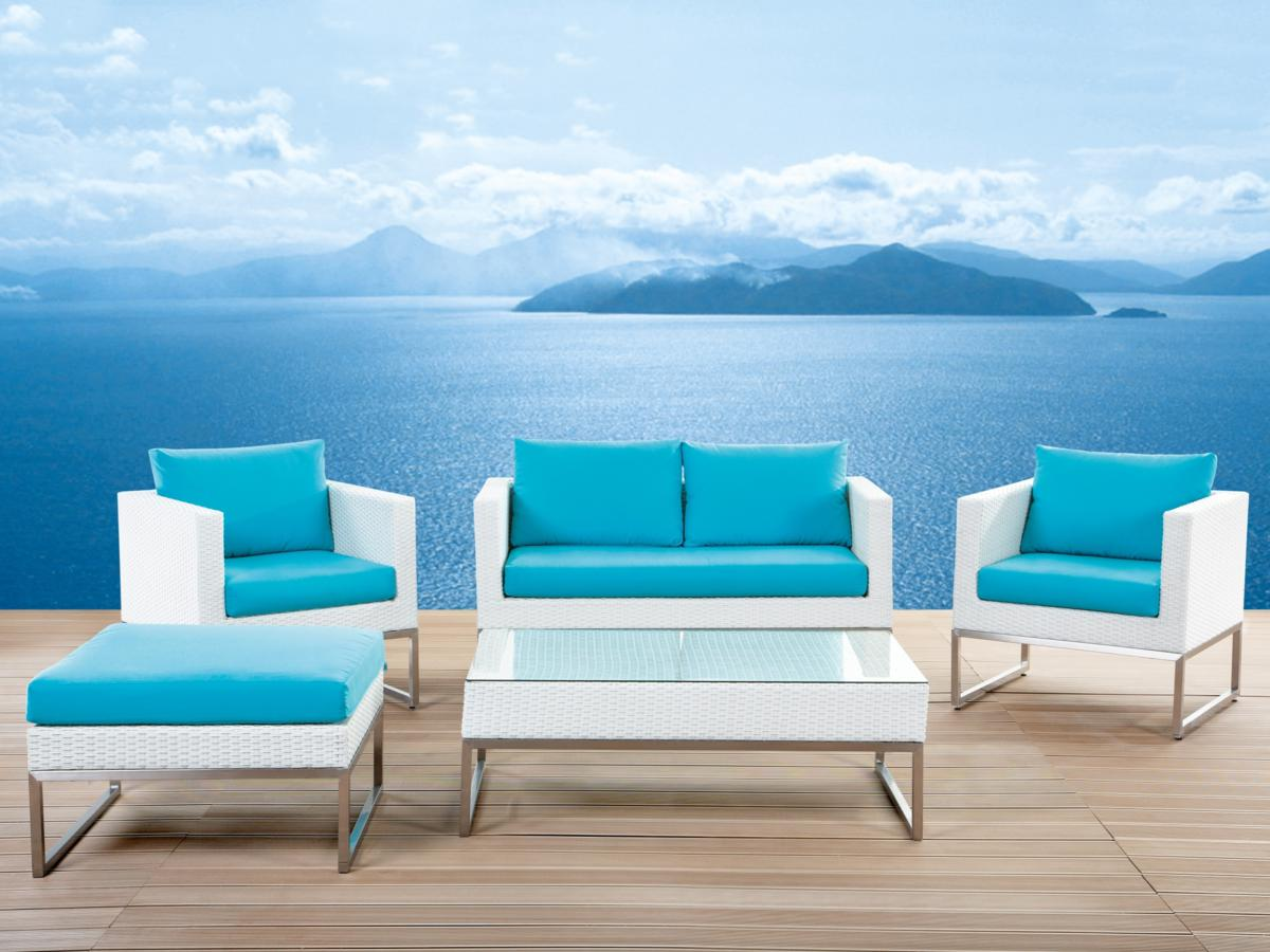 Designer Rattan Gartenmöbel Lounge Sitzgruppe Sitzgarnitur weiss ...