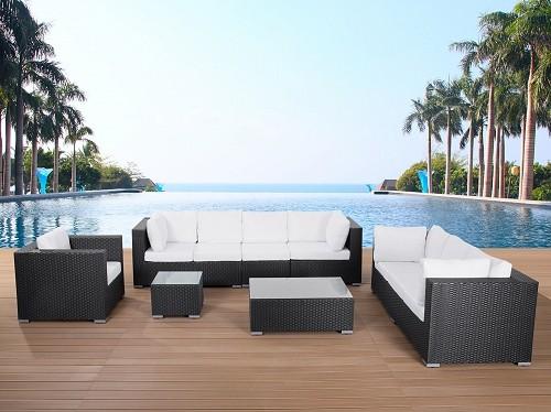Rattan lounge schwarz  Designer Rattan Gartenmöbel Lounge Rattanlounge günstig schwarz ...