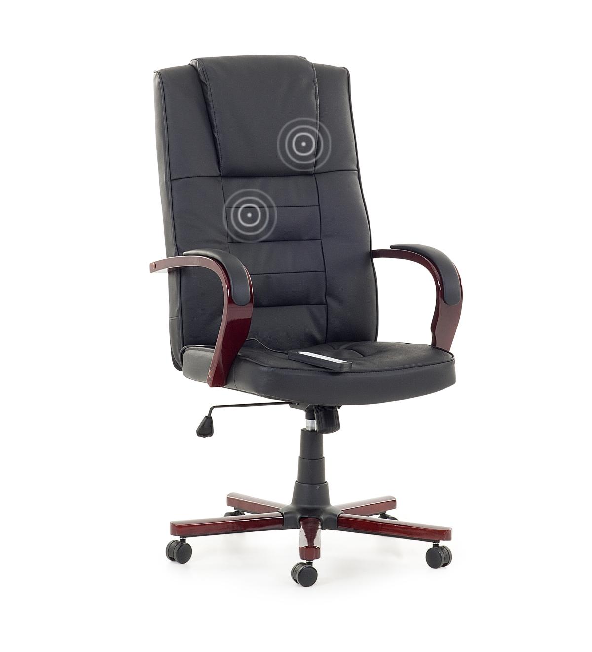 Chefsessel Massagesessel Bürostuhl Leder Sessel Büro beige weiß mit Massage Holz