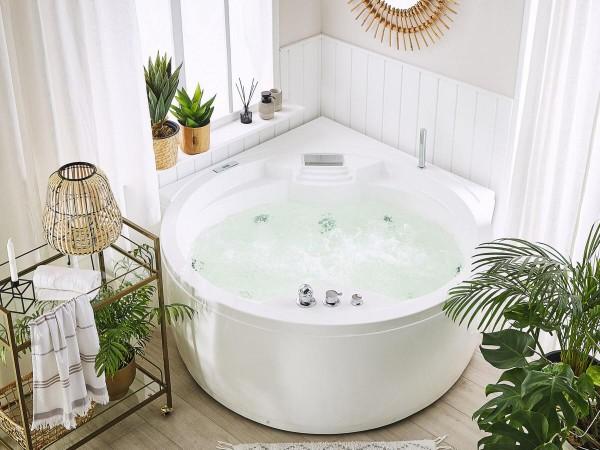 Whirlpool Badewanne Florenz runde Eckwanne mit 14 Massage Düsen + Heizung + Ozon + Wasserfall + LED