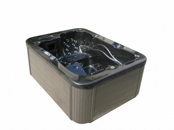 Outdoor Whirlpool Hot Tub Spa Lyon schwarz mit 27 Massage Düsen + Heizung + Ozon Desinfektion für 3 Personen